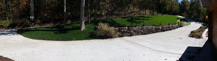 Driveway Retaining Wall Planting Area and Turf