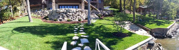 Rosetta Grand Flagstone Stepping Stones and sod